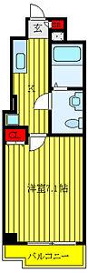 間取り,1K,面積24.66m2,賃料7.7万円,JR山手線 日暮里駅 徒歩8分,JR常磐線 三河島駅 徒歩2分,東京都荒川区東日暮里6丁目