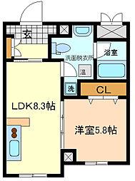 副都心ビル百番館木町通り 2階1LDKの間取り