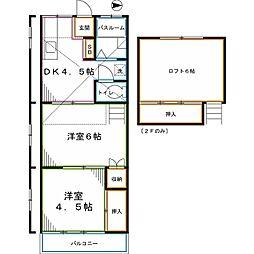 JR中央本線 西国分寺駅 徒歩6分の賃貸アパート 1階2Kの間取り