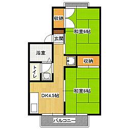 京都府京都市山科区音羽山等地の賃貸アパートの間取り