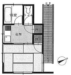 埼玉県入間市高倉5丁目の賃貸アパートの間取り