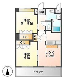 JR日豊本線 隼人駅 徒歩17分の賃貸アパート 1階2LDKの間取り