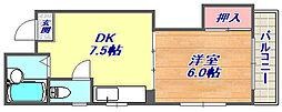 兵庫県神戸市灘区岩屋中町1丁目の賃貸マンションの間取り