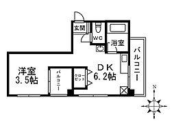 ハートイン田辺[3B号室]の間取り
