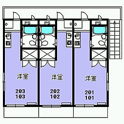 パラシオン富士見[102号室]の間取り
