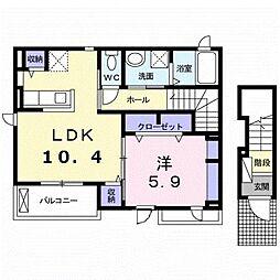 ハレ・ルアナ 2階1LDKの間取り