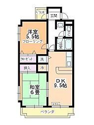 郡慶マンション[3階]の間取り