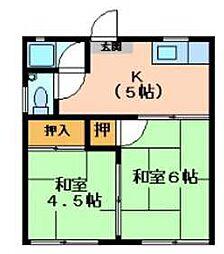 宇野アパート[2号室]の間取り