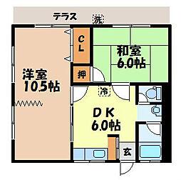 長崎県長崎市矢の平2丁目の賃貸アパートの間取り