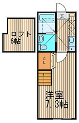 神奈川県横浜市鶴見区岸谷3丁目の賃貸アパートの間取り