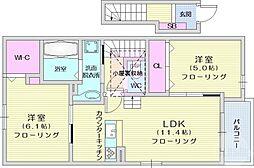 仙台空港鉄道 杜せきのした駅 徒歩16分の賃貸アパート 2階2LDKの間取り