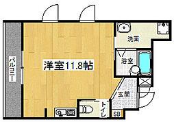京阪本線 七条駅 徒歩8分の賃貸マンション 2階1Kの間取り