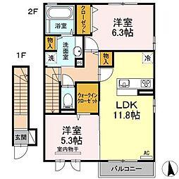 愛媛県松山市山西町の賃貸アパートの間取り
