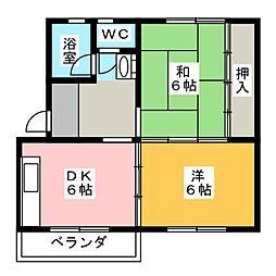 竜南ハイツ[3階]の間取り