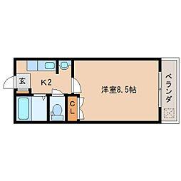 JR関西本線 三郷駅 徒歩3分の賃貸マンション 1階1Kの間取り