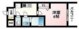Osaka Metro御堂筋線 西中島南方駅 徒歩3分の賃貸マンション 15階1Kの間取り
