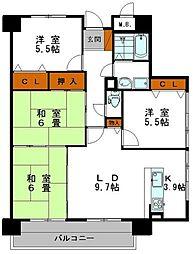 朝日プラザ東今宿[8階]の間取り