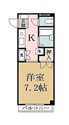 モデーロ花栗[201号室]の間取り