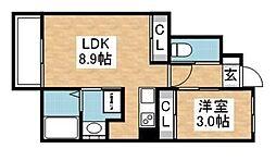 グラシア八田弐番館 1階1LDKの間取り