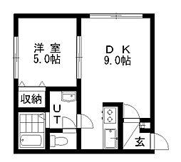 リラコート澄川 1階1LDKの間取り