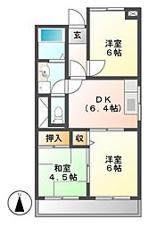 ニューコーポ上野[3階]の間取り
