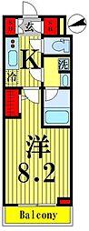 東武伊勢崎線 鐘ヶ淵駅 徒歩6分の賃貸マンション 2階1Kの間取り