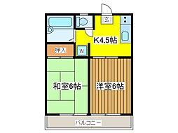 東京都府中市八幡町2丁目の賃貸アパートの間取り