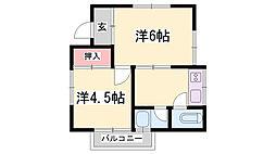 兵庫県神戸市灘区城の下通3丁目の賃貸アパートの間取り