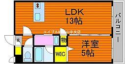 岡山県岡山市北区南方3の賃貸マンションの間取り