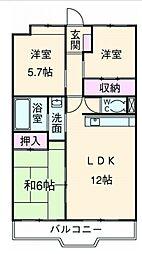 富士スカイハイツ[8階]の間取り