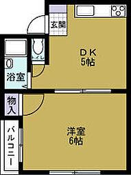 JPアパートメント港3[4階]の間取り