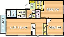 三洋タウン馬場山 B棟[2階]の間取り