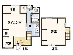 ネスト姫島貸家 2階2LDKの間取り