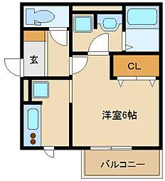 大阪府東大阪市西岩田の賃貸アパートの間取り