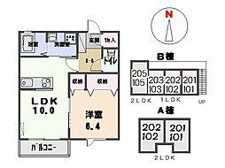 ワイズ B[1階]の間取り