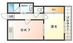第7川辺ビル 5階1DKの間取り
