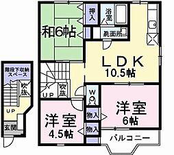 東京都八王子市七国6丁目の賃貸アパートの間取り