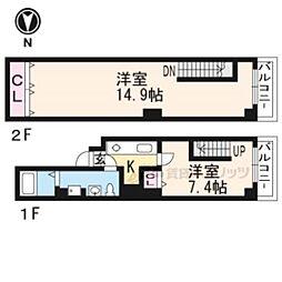 ブリエ五条大宮 5階2Kの間取り