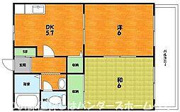 大阪府枚方市出屋敷元町2丁目の賃貸アパートの間取り