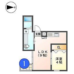 愛知県名古屋市西区城西4の賃貸マンションの間取り
