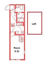 ハーミットクラブハウスケンズ 1階1Kの間取り