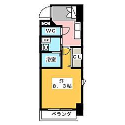 コモレビスクエア大須 8階1Kの間取り