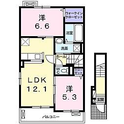 クレメント津志田B[2階]の間取り