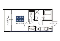 メルディア八広6丁目No.7 2階1Kの間取り