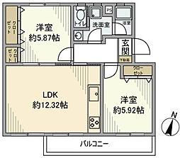 片倉台団地2-1号棟[3階]の間取り