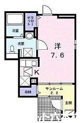 福岡市地下鉄七隈線 桜坂駅 徒歩5分の賃貸アパート 1階1Kの間取り