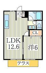 緑台ハイツA[1階]の間取り