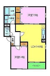 南海高野線 北野田駅 徒歩14分の賃貸アパート 1階2LDKの間取り