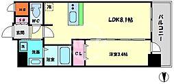 エステムコート梅田・天神橋IVステーションフロント 3階1DKの間取り