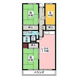 サンハイツ八事ふじみ A棟206号室[2階]の間取り